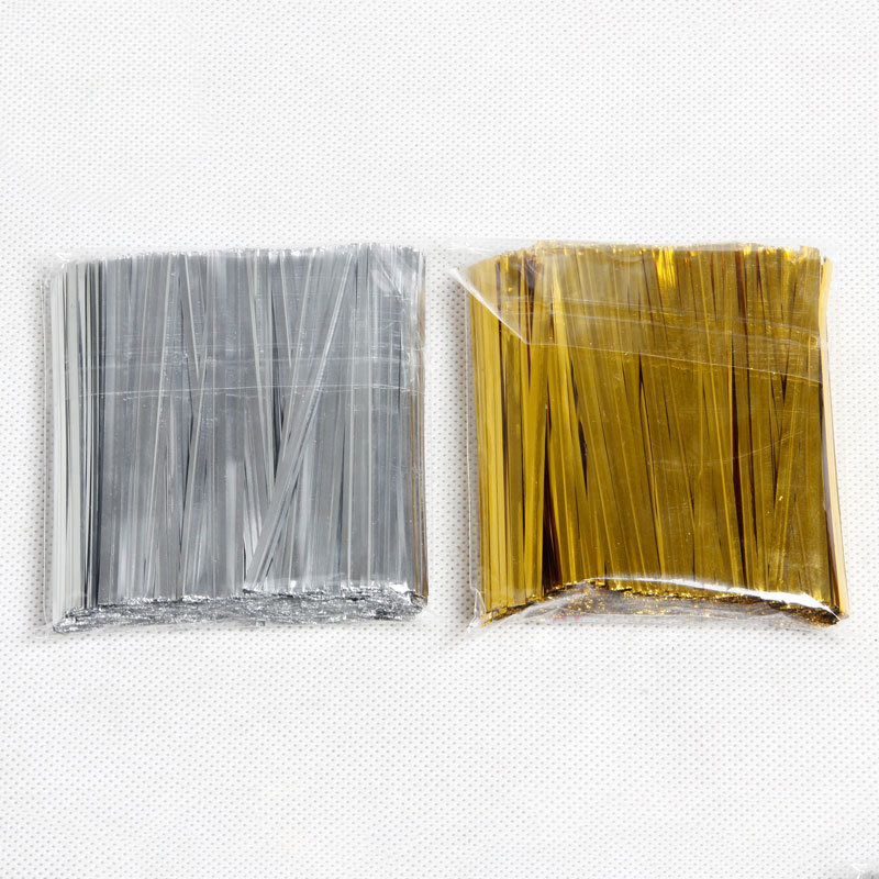 700Pcs/pack Gold/Silver Twist Ties Wire For Cake Pops Sealing Cello Bags Gifts Pack Fastener Sealing Party Supplies 8z