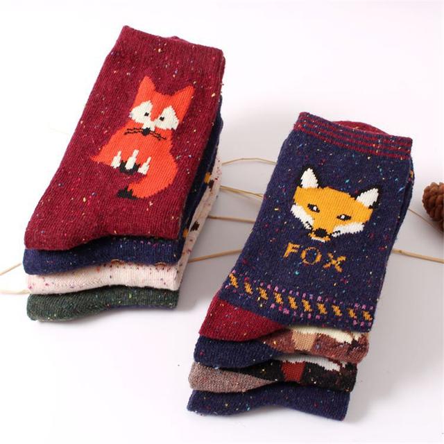 women vintage socks brand retro animals patterns rabbit wool socks autumn winter cute cartoon fox wolf warm cotton socks