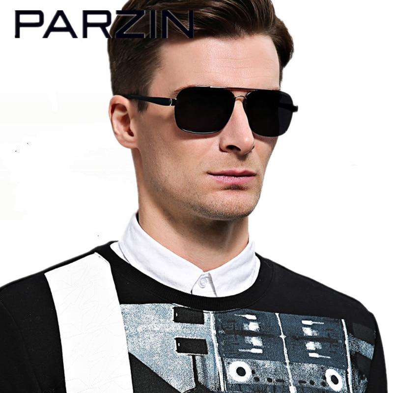 Parzin Män Polariserade Solglasögon Man Solglasögon UV-nyanser Drivglasögon Oculos De Sol Masculino Med Case 8001