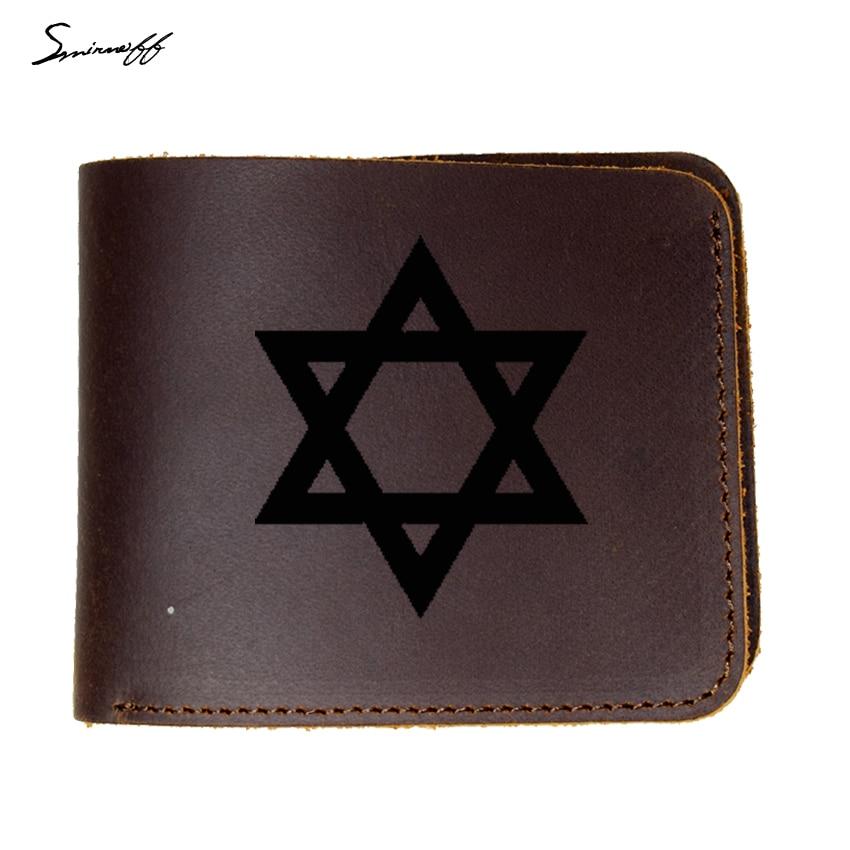 46cdbb643bbe Genuine Leather Wallet Men Hexagram Israel Magen David Star Card Wallet  Custom name Israel Army Cow Leather Short Purse Male
