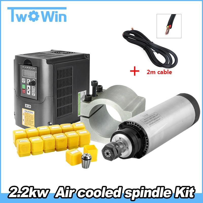 Air Cooled Spindle Kit 2 2KW CNC Milling Spindle Motor 2 2KW 220v VFD Inverter 80mm