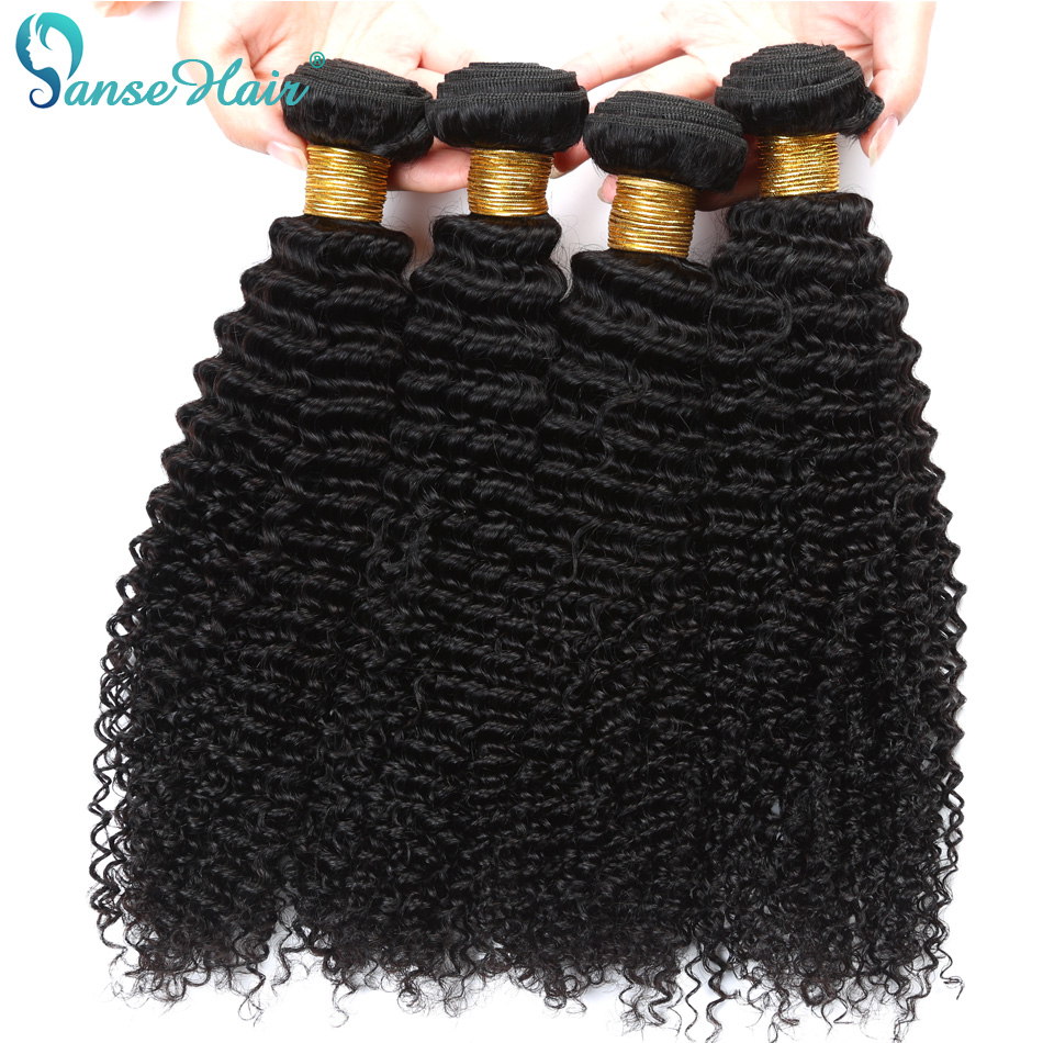 Panse Hair Products Mongolian Deep Curly Human Hair Bundles 4 Pcs Per Lot Human Hair Weaving 100g Non Remy Hair Extension