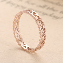 KNOCK Высокое качество нержавеющая сталь Персиковое сердце выдалбливают для женщин полые персонализированные пользовательские кольцо ювелирные изделия подарок