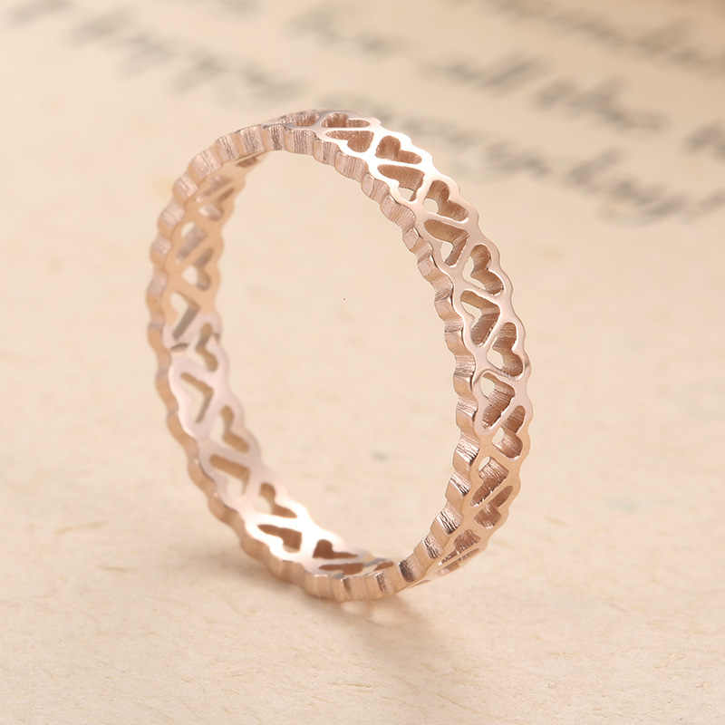KNOCK  High Quality Stainless Steel Peach Heart Hollow Out  Women Hollow Personalized Custom ring jewelry Gift