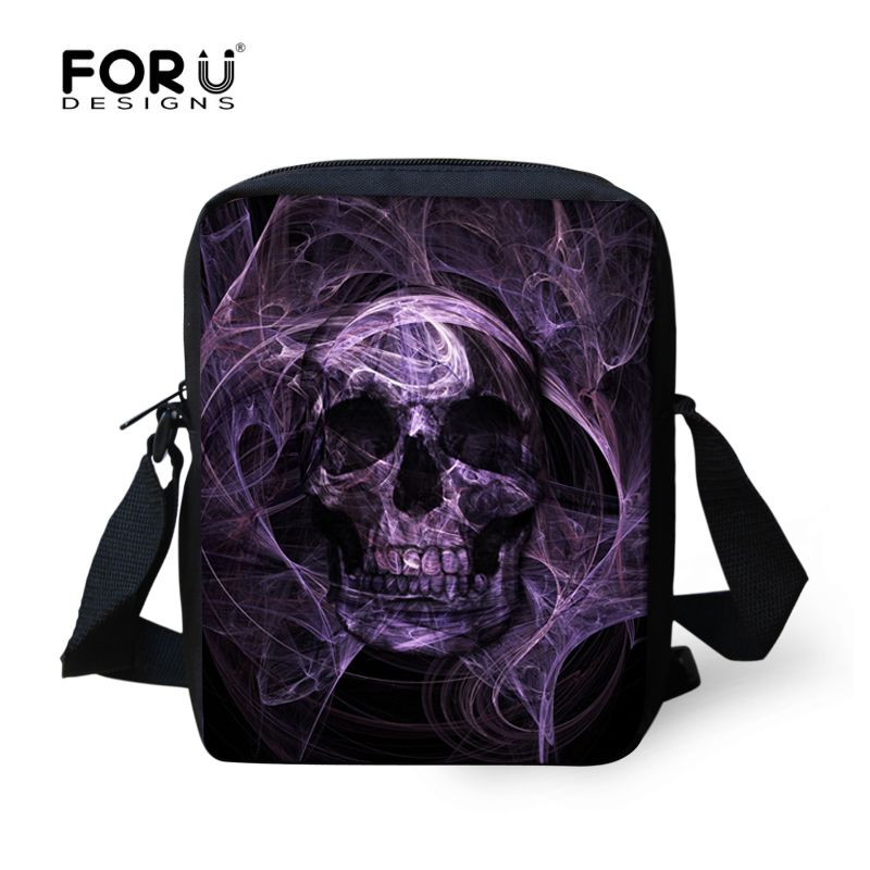 FORUDESIGNS Punk Style 3D Skull Men Messenger Bags For Teenager Boys Small Mens Shoulder Cross-body Flap Bags Mochilas Infantil