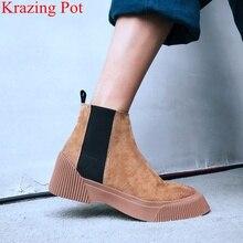 Krazing סיר 2021 אופנה אמיתי עור פלטפורמת בוהן עגול מוצק med עקבים נשים קרסול מגפי תמציתי להתחמם חורף נעל l2f1