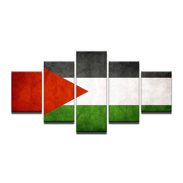 Fashion 5 Panels Palestinian Flag Printed Canvas Painting High Quality Home Decor Wall Pictures