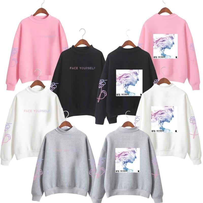BTS Love Yourself K Pop Women Hoodies Sweatshirts Hoodies Outwear Hip-Hop Bangtan Boys Jimin Clothes