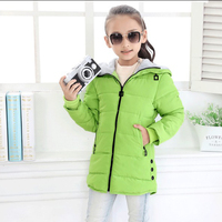 New Fashion Medium Long Winter Coat For Girl Children Clothing Big Girls Thermal Kids Hooded