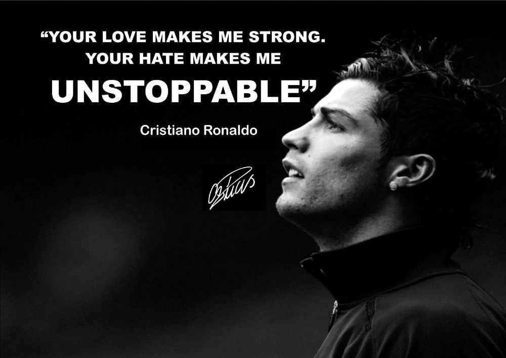 CRISTIANO RONALDO  MOTIVATIONAL QUOTE  AUTOGRAPH SILK POSTER 24X36INCHS