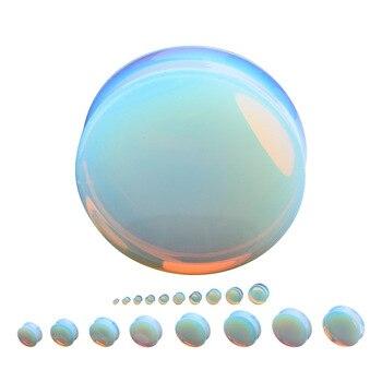 Opal Flesh Tunnel Ear Plugs Thermal ear stone earrings exquisite pierced jewelry 6mm 8mm 10mm 12mm 14mm 20mm