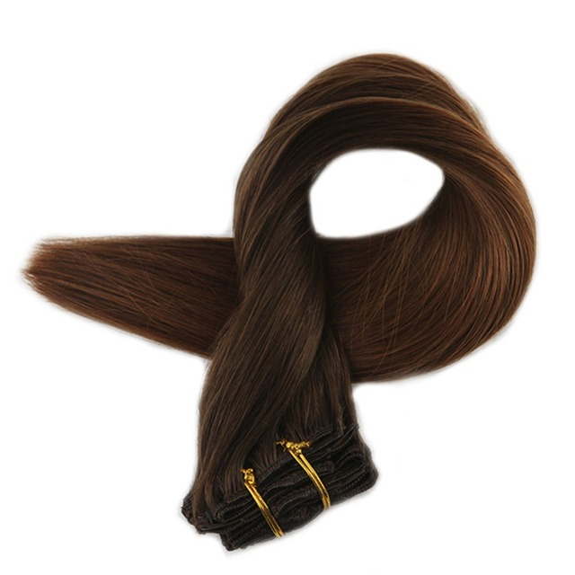 Full Shine Clip In Remy Hair Extensions Full Head 7pcs Ombre Color