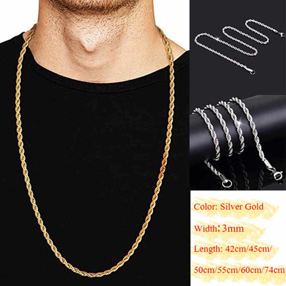 Złoto srebro stałe Twist Rope Chain naszyjnik 2019 moda ślub zaręczyny wisiorek Choker długi naszyjnik dla kobiet mężczyzn biżuteria