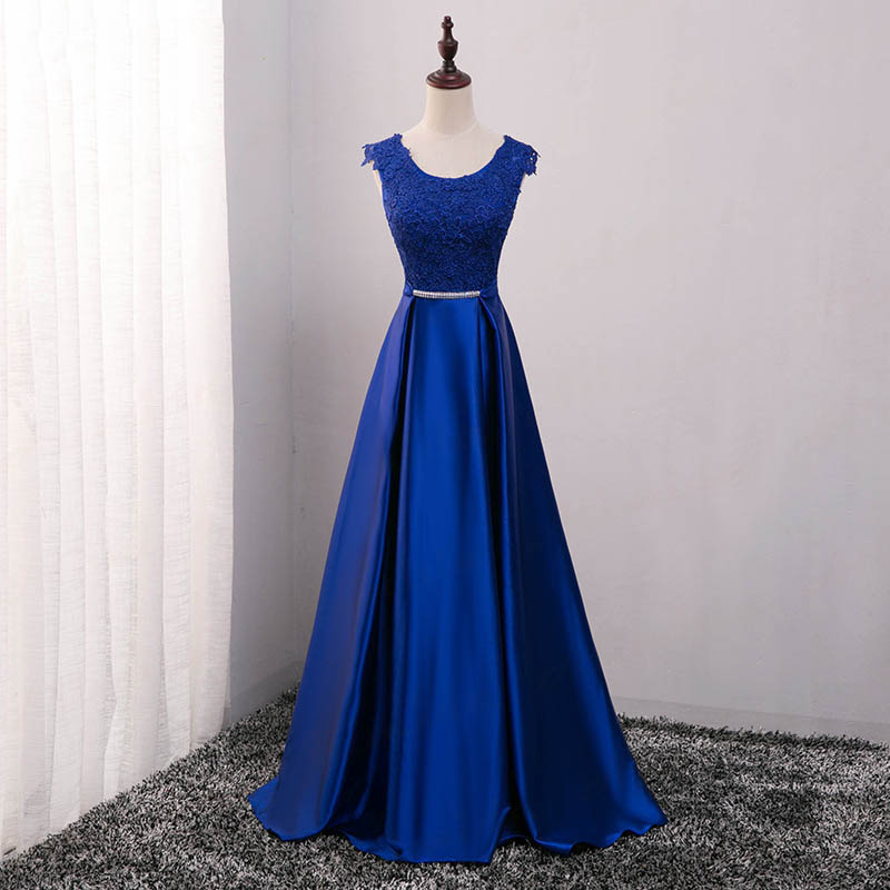 Элегантное вечернее платье с длинным аппликации платье для банкета, вечеринки Потрясающие сатиновое платье для выпускного вечера; Robe De Soiree vestido de festa - Цвет: Синий