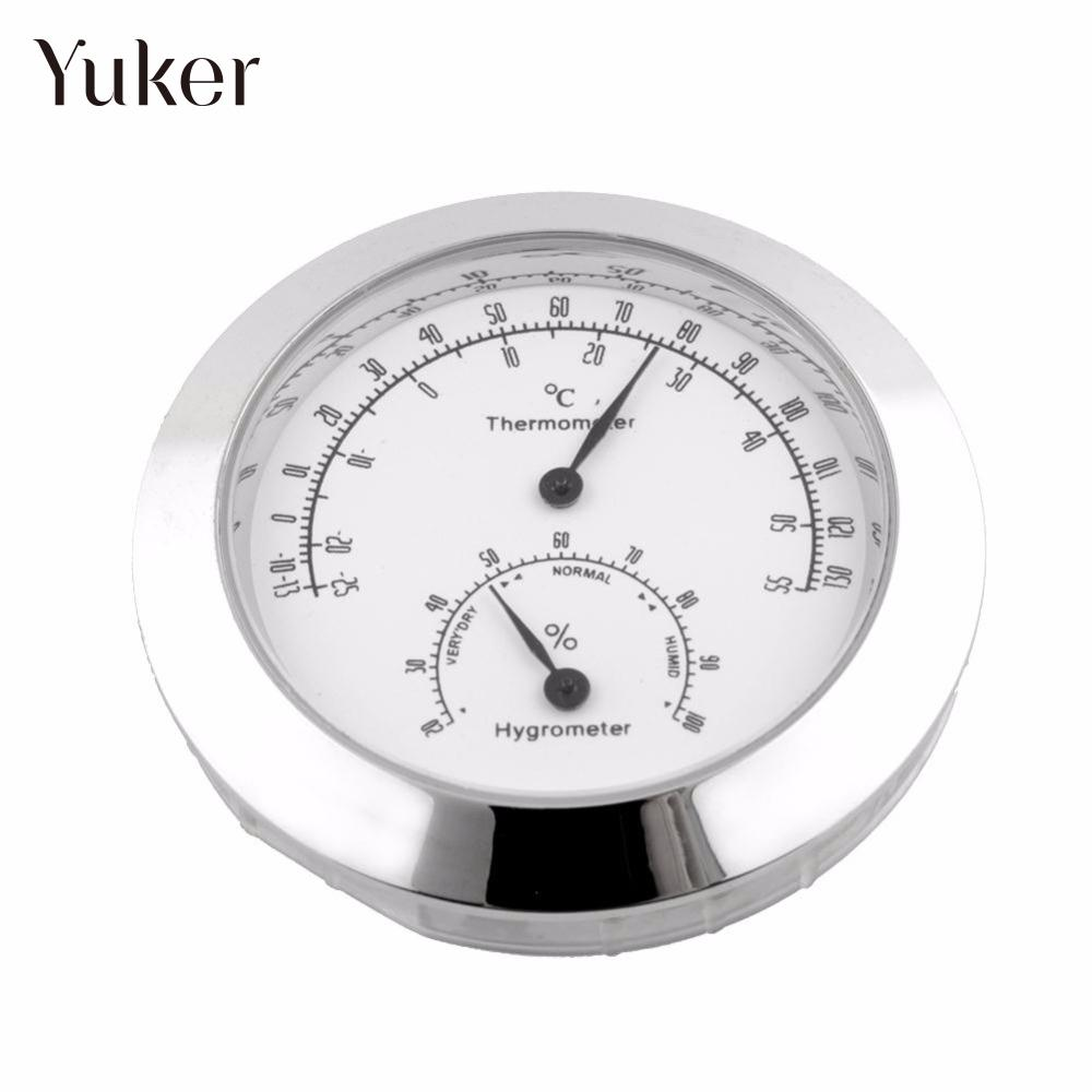 Yuker New Alloy Silver Round Humidity Moisture Thermometer Hygrometer Case For Guitar Violin Mini Useful Portable