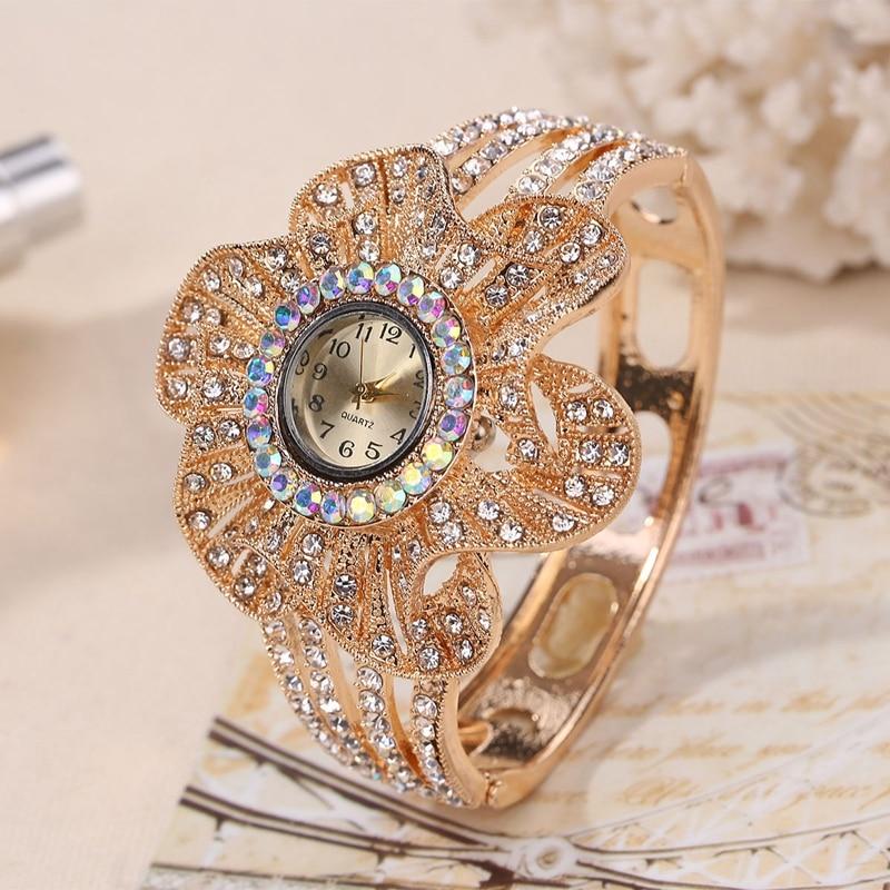 Gold Color Wrist Watch Women Flower Shape Jewelry Bracelet Watches Crystal Ladies Quartz Clock relogio feminino bayan kol saati