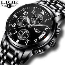 LIGE Mens Watches Top Brand Luxury Fashion Business Quartz Watch Men Sport Full Steel Waterproof Watch Relogio Masculino 2018 цена и фото