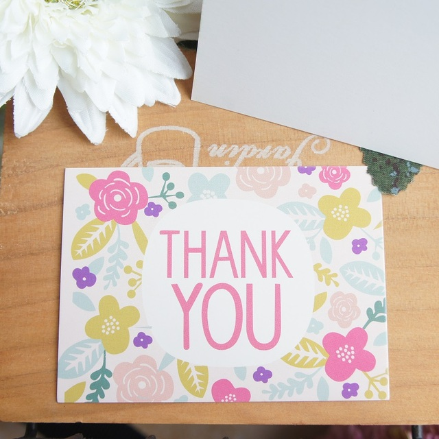 50pcs Mini thank you Card flower garland leave message cards Lucky