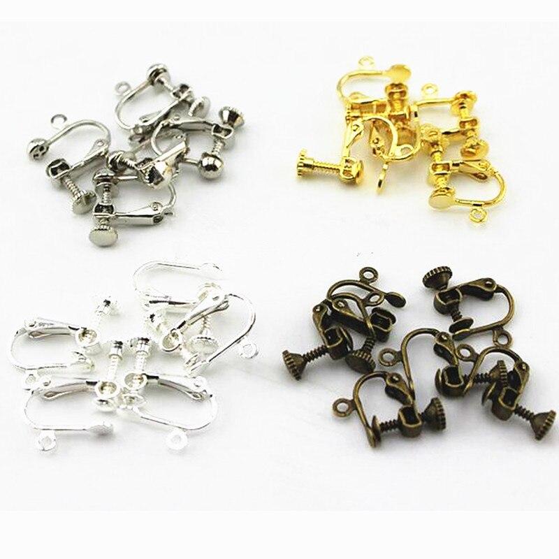 GHRQX Hot Sell screw ear clip No pierced ear clip stud earrings Jewelry Findings Wholesale 10 pcs недорого