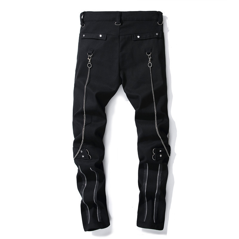 DJ Night Club Black Zipper Men's Jeans 1