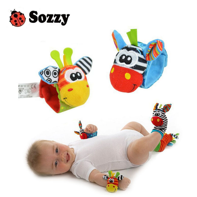 2019 A Pair Sozzy Baby Infant Soft Toy Wrist Rattles Finders Developmental Baby Wrist Rattles Early Childhood Hearing Exercise
