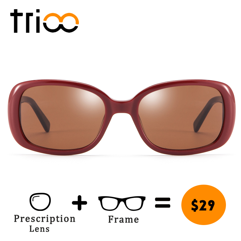 100% Waar Trioo Speciale Rode Minus Bril Voor Vrouwen Acetaat Uv400 Bruin Leesbril Zomer Bijziendheid Zonnebril Hoge Kwaliteit Ovale Oculos