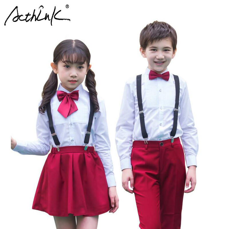 ActhInK Kids 4PCS Performance & Wedding Overall Suits with Bowtie Girls Formal School Uniforms Suits Boys School Chorus Costumes