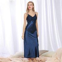 New Women Summer silk long Night Dress Plus Size Loose v neck sexy white lace Nightwear strap Sleepwear Nightgown 6 colors