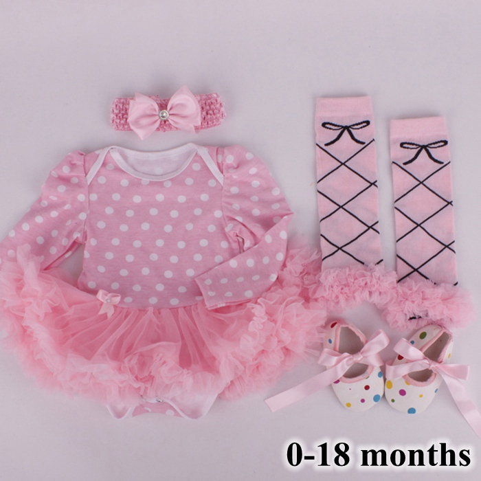 Pink Polka Dots Tutu Set Baby Lace Romper Dress Warmers Shoes Headband 4PCS Newborn Baby Girl Clothing Set Birthday Baby Gifts classic casual baby shoes toddler newborn polka dots baby girls autumn lace up first walkers sneakers shoes