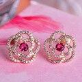 MECHOSEN Lovely Rose Flower Stud Earrings Cubic Zirconia Rhinestone Aretes Gold Plated Copper Ohrringe For Women Party Schmuck