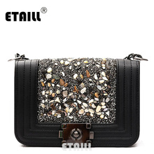 ETAILL Diamond Lady Quilted Plaid Shoulder Crossbody Bags Women Messenger Bag Luxury Pu Leather Chain Flap