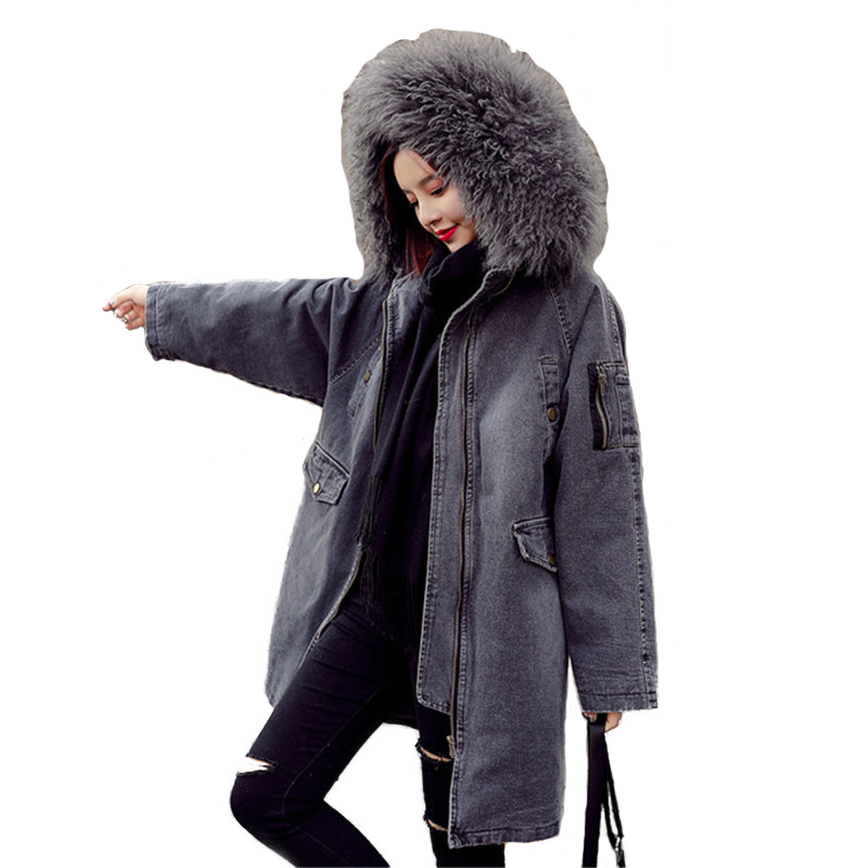 Denim Cotton Jacket Women Winter Thicken   Parkas   Big Wool collar Hooded Coat Students Casual Tops Jeans Coats Female Plus size