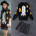 2016 Autumn Winter Runway Fashion USA Rocket Star Pattern Knitted Sweater Pullover + PU Leather Skirt Women Clothing Set 4037