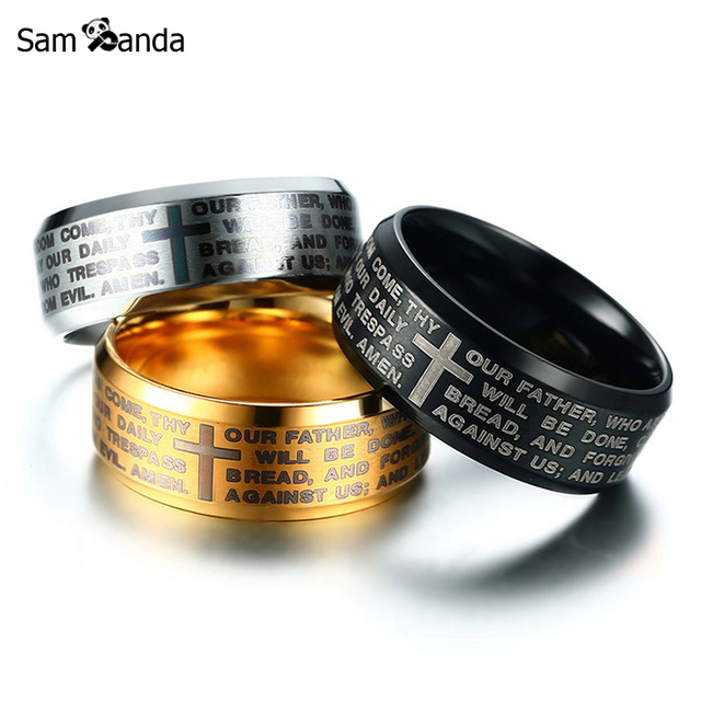 3 Colors 8mm Ring Vintage Stainless Steel Men Finger Rings Matte Finished Engraved Cross Religion Mens