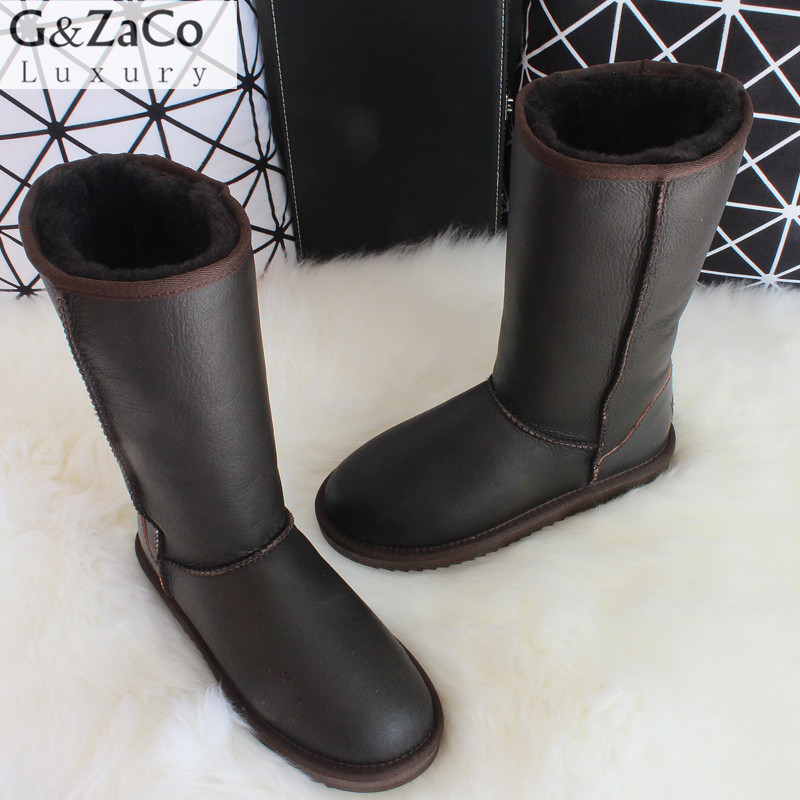 G&Zaco Luxury Winter Knee High Classic Sheepskin Snow Boots Natural Wool Sheep Fur Boots Women Long Boots Leather Shoes luxury women classic snow boots waterproof sheepskin wool one natural wool inside fur boots crystal buckle warm winter shoes