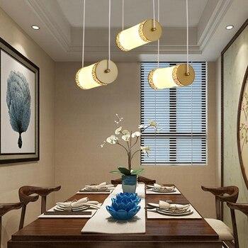 Новинка, китайский стиль, цилиндрический дизайн, Золотая краска, железо, акрил, 3 светильники, Подвесная лампа, простой Креативный светодиод...