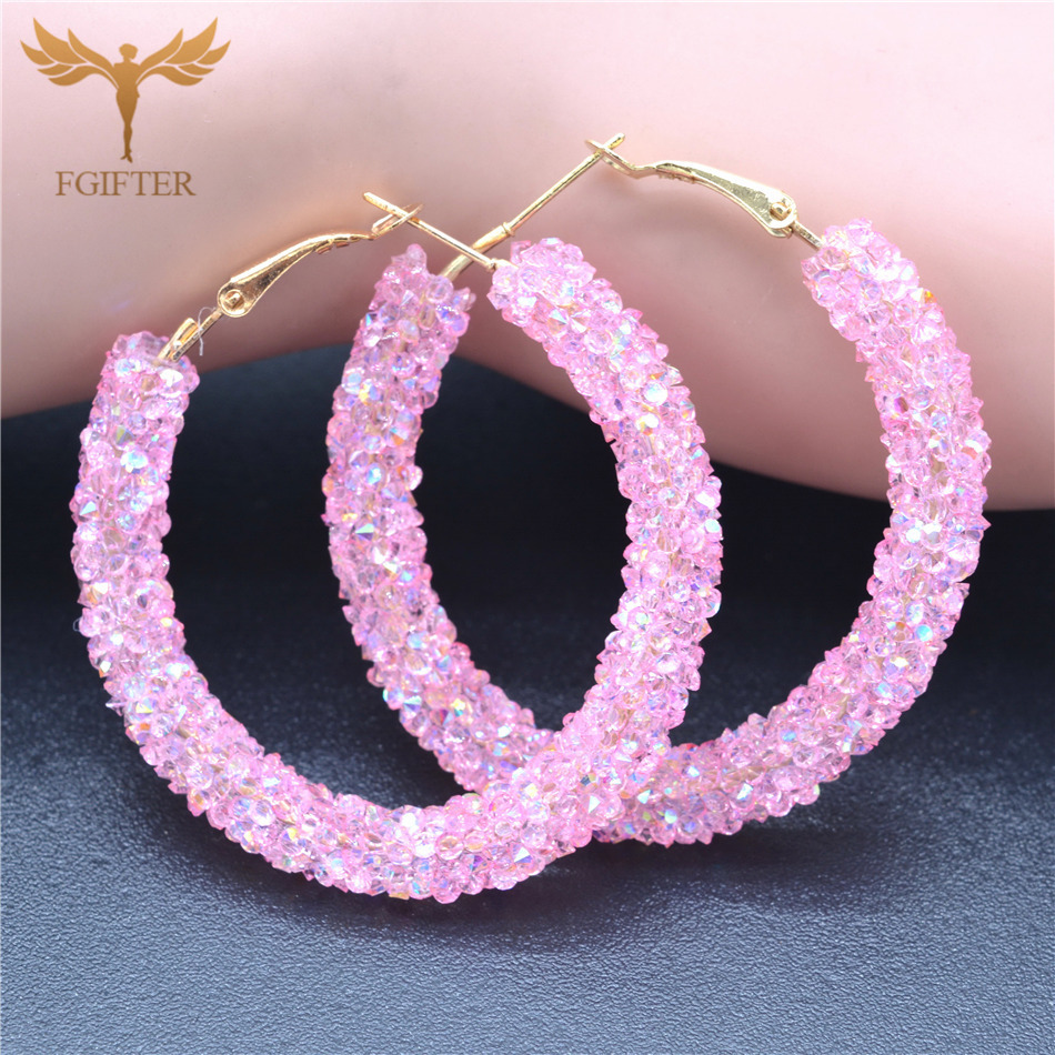 Bohemia Pink Acrylic Hoop Earrings for Women Lady Total 48mm Round Hoops Silver Alloy Cuff Accessories Women Fashion Jewelry in Hoop Earrings from Jewelry Accessories