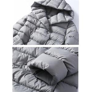 Image 5 - Sanishroly 2018 White Duck Down Jacket Tops Women Sashes Long Ultra Light Down Coat Parka Female Hooded Outerwear Plus Size 288