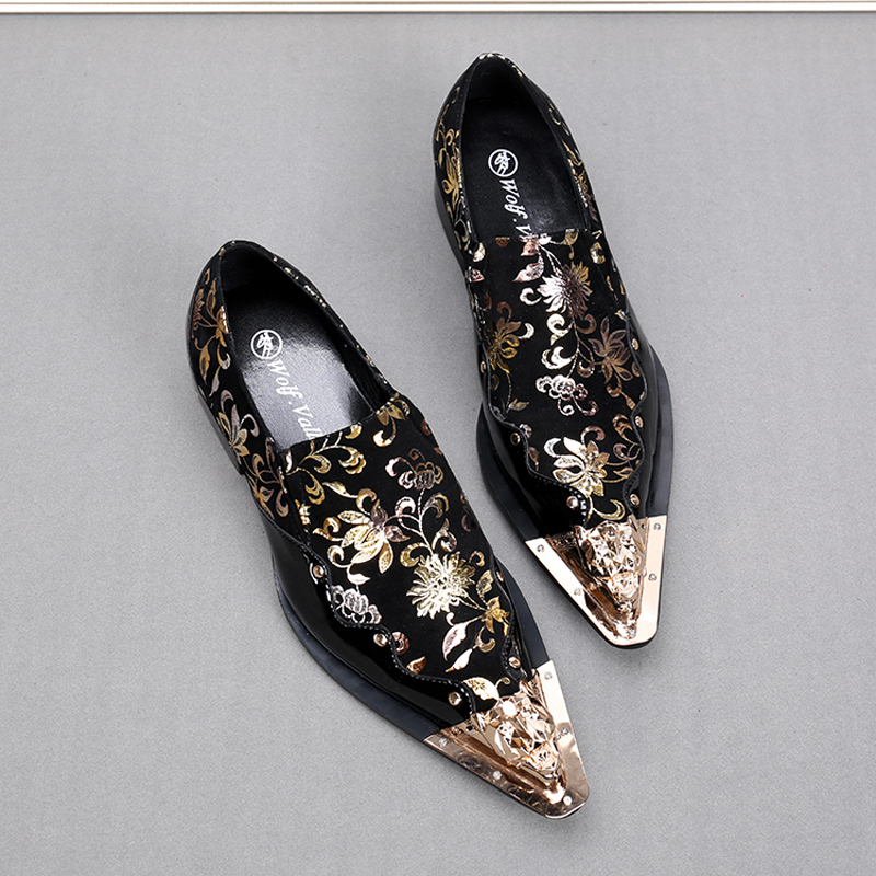 21e37d9f6dde Hot Sale Black Print fPlowers Mens Leather Loafers Metallic Toe Mens Glitter  Shoes Gold Pointed Toe Wedding Shoes Zapatos Hombre