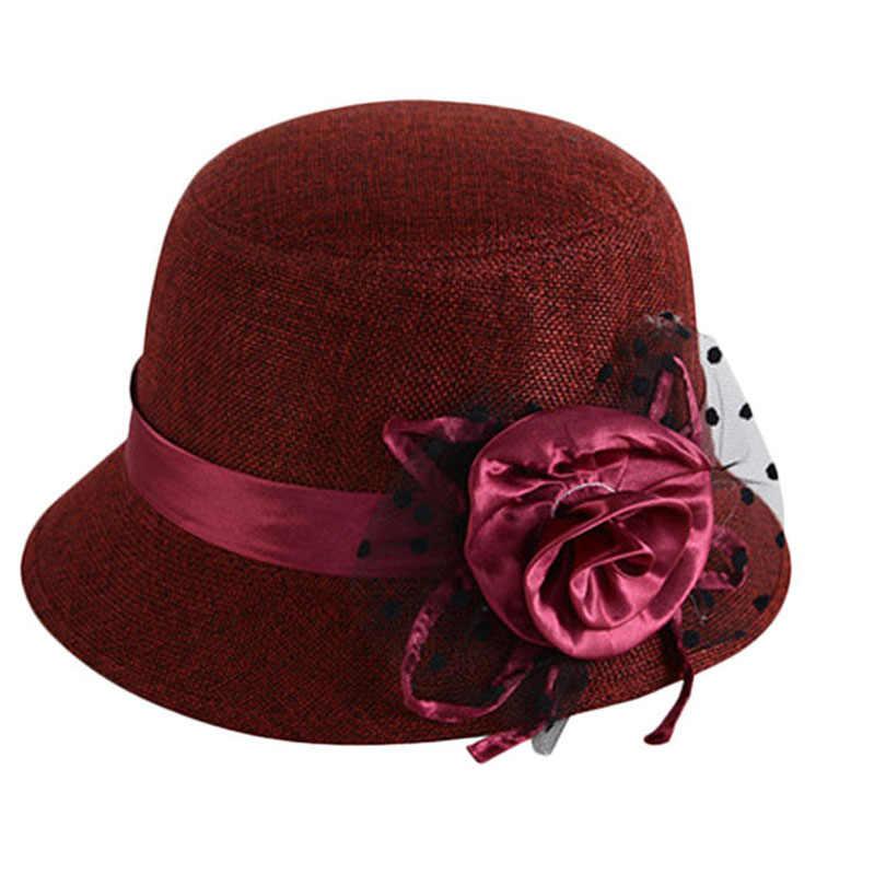 Fashion Sweet Elegant Lady Flax Floral Vintage Classic Retro Bowler Formal Church Hat Wedding Fedora Cap Female Party Chapeau