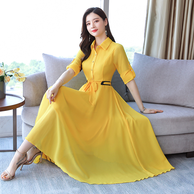 2019Autumn New Arrival Plus Size M-3XL  High Quality Elegant Solid Color Turn-down Collar   Woman Chiffon Long Dress
