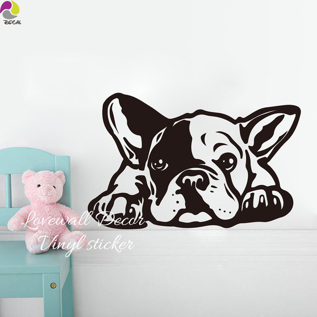 Cartoon French Bulldog Siesta Dog Wall Sticker Baby Nursery Kids