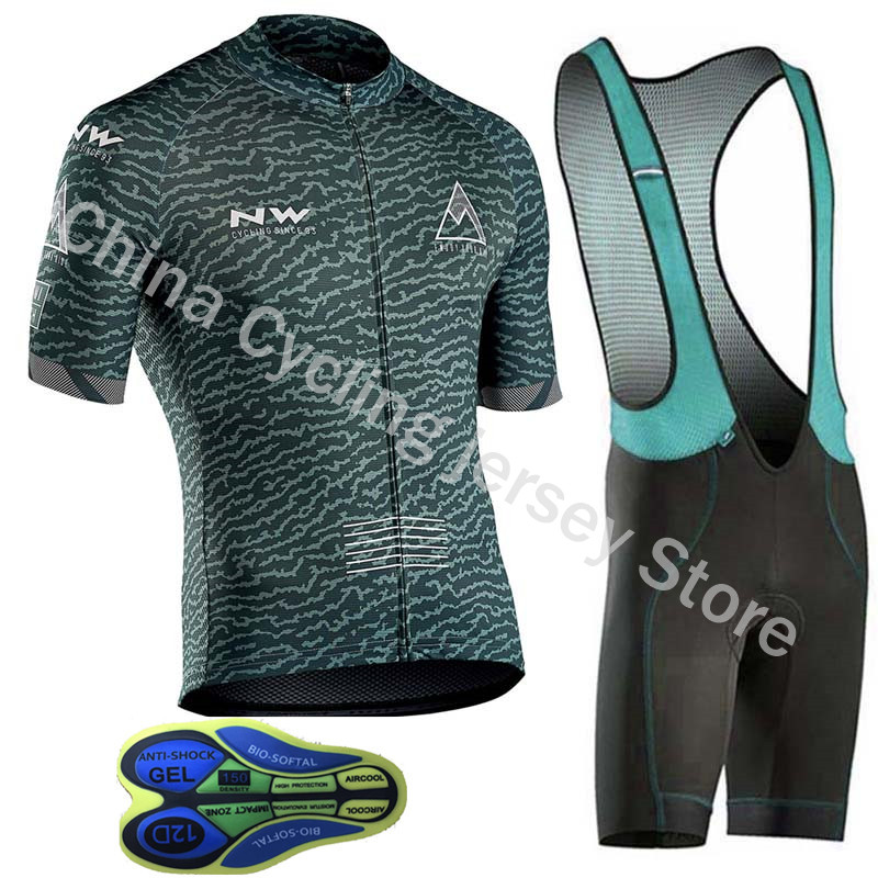 ba1625aa6 NW Northwave New Breathable Cycling Jersey Set Men Mtb Bike tops Shorts Kit  short sleeve shirt