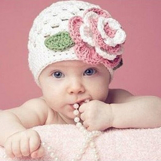 For child Sweet Flower Crochet kids baby beanies Cotton Infants Hat ...