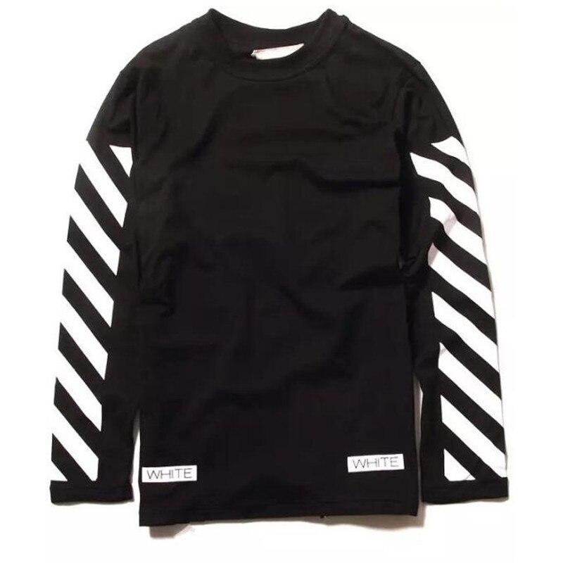 2016 fashion men off white 13 stripe long sleeve t shirt for White cotton long sleeve t shirt