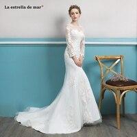 Vestido de noiva2019 new lace Scoop long sleeve ivory sexy mermaid wedding dresses long robe de mariee high quality gelinlik