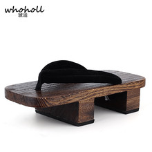 WHOHOLL Geta Two-toothed Clogs Japanese Sandals Mens Flip-flops Cosplay Wooden Slides Shoes