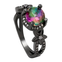 2019 Hot Sale Unique Design Rings Floral And Leaves Red Purple Aaa Cz Black Gun Plated Cocktail Jewelry For Women