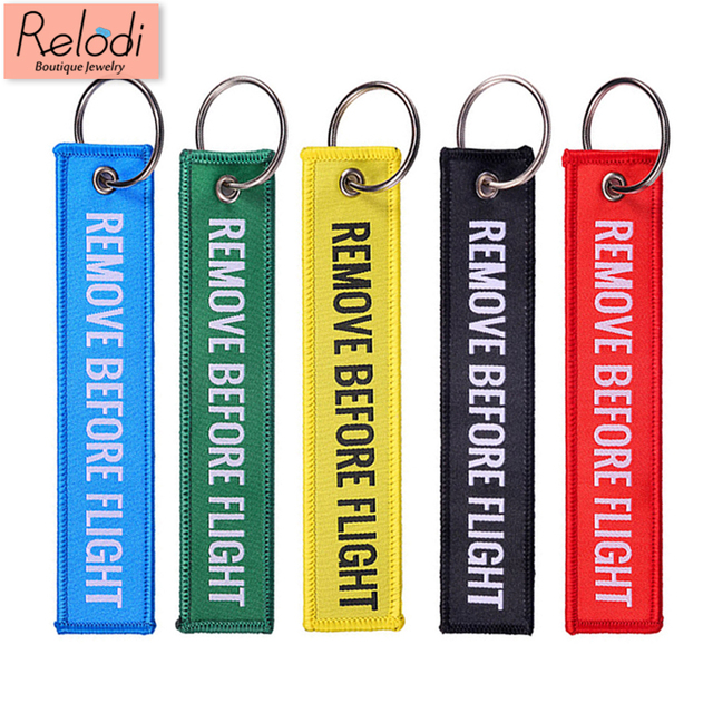 Remove Before Flight Key Chain Trendy Keyring Embroidery Polyester Fabric Key Protector Commemorative Keychain Buckle SP0978