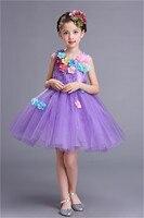 Lavender Blue Tulle Rhinestone Kids Wedding Short Prom Dresses Princess Beaded Pageant Party Girls Dress Flowers